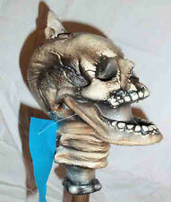 1990s NOS Staff or Cane Topper Latex Prop Spiked Screaming Skull Head