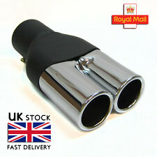 Double Universal Car Twin Exhaust Tip Muffler Trim Pipe Chrome