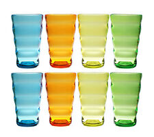 QG 25 oz Colorful Wave Shape Acrylic Plastic Cup Drinking Glass Tumbler Set of 8