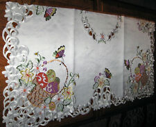 """EASTER TABLECLOTH SPRING EASTER EGG BASKET BUTTERFLY CUTWORK EMBROIDERED 34""""x34"""