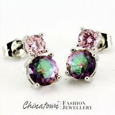 6MM ROUND RAINBOW MYSTIC TOPAZ SIMULATED PINK SAPPHIRE SILVER SF STUD EARRINGS