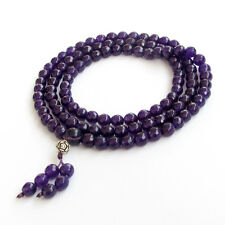 Faceted Purple Jade Tibet Buddhist 108 Prayer Beads Mala Necklace