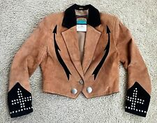 Vintage Pioneer Wear Women's Brown / Black Leather Cropped Jacket Size M