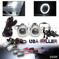 "JDM STYLE 3"" WHITE HALO PROJECTOR FOG LIGHTS DUAL SWITCH+6000K HID FOR NISSAN"