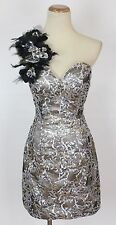 NEW Lime by Riva $280 Sequin Feather one Shoulder Size 6 Prom Formal Short Gown