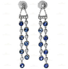 Fabulous TIFFANY & CO. Jazz Diamond Sapphire Platinum Double Drop Earrings