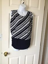 Chicos Knit Kit Ink ( Navy ) White Stripe Variance Sleeveless Top 1 = 8 / 10 NWT