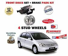 FOR HONDA CIVIC 1.7TD 2002-2006  New FRONT BRAKE 4 STUD DISCS + DISC PAD SET