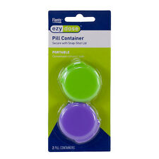 Ezy Dose Portable Daily Pill Containers with Snap-shut Lids (2 Per Pack)