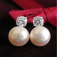 925 Sterling Silver 9MM Cultured White Freshwater Pearl Studs Earrings With CZ