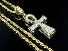 "Men's Yellow Gold Finish Iced-Out Lab Diamond Ankh Pendant 2.0"" & Rope Chain 24"""