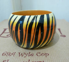 Fair Trade Orange Black Tiger Stripe Bangle Ethical Wood Handmade Painted Chunky