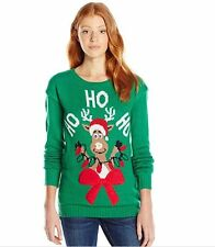 NEW Derek Heart Juniors Cute Reindeer Pullover Christmas LIGHT UP Sweater Sz L
