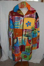 "BOHO Hoodie Sweat JACKET  PATCHWORK 35"" Long XL Multicolored HIPPY  Mod"