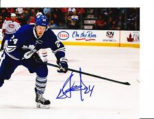 TORONTO MAPLE LEAFS PETER HOLLAND SIGNED BLUE JERSEY 8X10