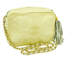 Auth CHANEL Quilted  CC Single Chain Shoulder Bag Green Lizard Leather V02551