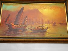 Vintage 1970's Yang Shu Tao S T Young Chinese Junks Sampans Framed Oil Canvas