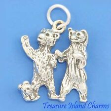 THREE BEARS ~ BEAR FAMILY ~ 3D .925 Solid Sterling Silver Charm