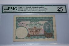 (PL) 25 CENTS E 318350 KNB2 1940 MALAYA/BRITISH ADMINISTRATION PMG 25 VERY FINE