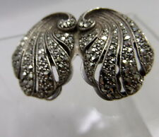 Art Nouveau Deco Silver and Marcasite Metamorphic  Brooch -Fur Clips
