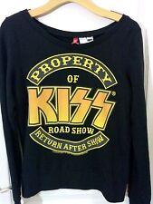 Property of Kiss Roadshow Kiss Rock Band Womens Black Long sleeve shirt Sz US 6