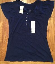 NWT Womens EDDIE BAUER Bright Navy Short Sleeve Top Size Small
