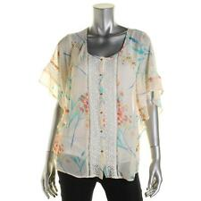 Daniel Rainn 5658 Womens Ivory Chiffon sheer Printed Blouse Top M BHFO
