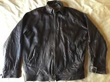 mens large Polo Ralph Lauren brown distressed leather zipper jacket L
