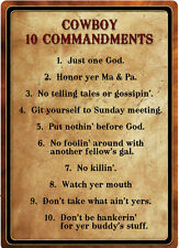 "WESTERN RUSTIC RANCH HOME BARN DECOR ""COWBOY 10 COMMANDMENTS"" METAL SIGN"