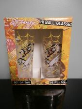Set of Two Don Ed Hardy 14 Oz. Hi Ball Glasses