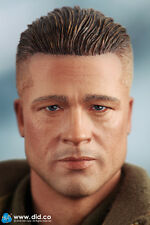 "DiD Donald WW2 2nd Armored Div. ""Hell on Wheels"": Head Only -Brad Pitt 1/6 scale"