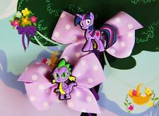 Two My Little Pony FIM Twilight Sparkle Spike Inspired Girl Handmade Hair Clips