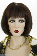 Classic Short, Straight Chic, Human Hair Bob With Bangs Straight Skin Top Wigs
