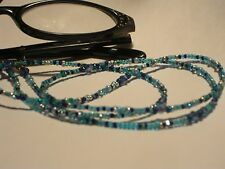 "Eyeglass Chain~Hand Beaded Ocean Blue Mix~Crystals~Neck Cord~28""Buy 3 SHIP FREE"