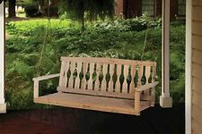 New Premium Unfinished Cypress 4 Ft Wooden Porch Swing Hanging Seat 500 Lbs