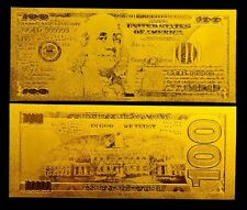 BILLETE 100$ US DOLLAR REPLICA ORO GOLD 24K