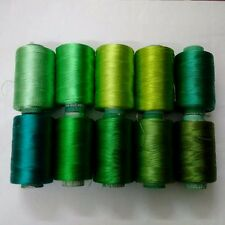 LOT of 10 GREEN 150/2 Denier Viscose Rayon Thread Yarn-Hand & Machine Embroidery