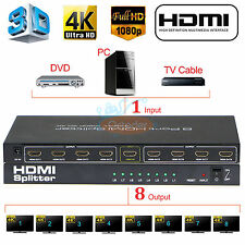 Ultra HD 4K 1X8 HDMI Splitter 8 Port Repeater Amplifier Hub 3D 1080p 1 In 8 Out
