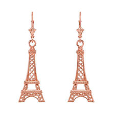 14k Rose Gold Paris Eiffel Tower Drop / Dangle Leverback Earrings