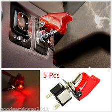 5 Pcs 12V 20A Car Truck Red Cover LED Light Rocker Toggle Switch SPST ON/OFF Kit