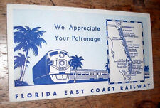 Vintage 1956 FLORIDA EAST COAST RAILWAY TICKET ENVELOPE-Nice Advertising