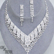 HIGH END ROYAL CLEAR CRYSTAL CHUNKY PROM WEDDING FORMAL NECKLACE JEWELRY SET