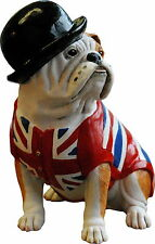 BRITISH BULL DOG with UNION JACK WAISTCOAT SCULPTURE FIGURINE