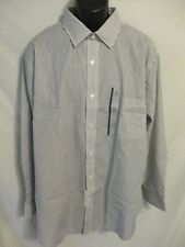 Croft & Barrow Big 2X Cotton Blnd Slim Fit 34/35 Black Striped Shirt SR$32 NEW