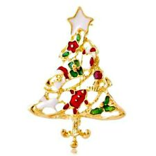 Red White & Green Gold Tone Christmas Tree Brooch / Pin NEW