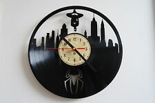 Spider-man vinyl record wall clock bedroom playroom office home art shop club