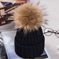Womens Ladies Winter Warm Wool Knit Crochet Fur Pom Bobble Beanie Hat Ski Cap