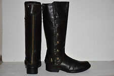 Steve Madden Tall Black Leather OLSTER Boots Stud Detail Rear Zip Up Moto Size 8