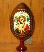 "Russian Egg Holy Virgin COMPASSIONATE ""Worthy to be"" ORTHODOX ICON Easter GIFT"