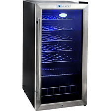 27 Bottle Stainless Steel Wine Cooler, Compact Blue LED Fridge Chiller w/ Lock